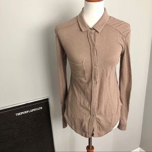 We the Free Taupe Collared Button Down Top